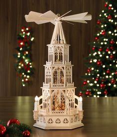 Elektrische Tilgner Weihnachtspyramide a.d. Erzgebirge - Höhe: 55cm - mit Christi Geburt.
