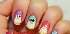 Uñas decoradas con Pingüinos – video paso a paso