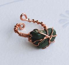 Green Howlite Nugget Stone Copper Wire Wrap Handmade Adjustable Ring Unique