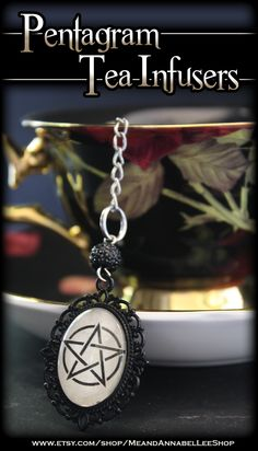 Pentagram Tea Ball Infuser    Witchcraft   Pagan   Wiccan   Witches' Tea Party   White Magick   Halloween   Victorian Gothic   Accessory for Loose Leaf Tea  #witch #pagan #teaparty #pentagram #tealovers