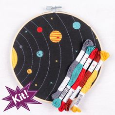 If Doctor Who had any free time, she'd embroider this for the TARDIS. But as she's busy saving all the worlds, you can. Our Solar System embroidery kit includes: Embroidery needle, embroidery hoop… Diy Embroidery Kit, Hand Embroidery Tutorial, Hand Embroidery Stitches, Embroidery For Beginners, Embroidery Designs, Ribbon Embroidery, Doctor Who Embroidery, Machine Embroidery, Embroidery Hoops