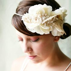 ivory flower and feather bridal halo 'first sight'
