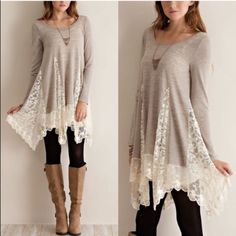 XX The FAITH lace tunic sweater - SAND A solid sweater tunic top featuring bottom lace detailing throughout. Semi- sheer. Long sleeves. Knit. Lightweight. 100%POLYESTER. AVAILABLE IN CHARCOAL & SAND. PRICE FIRM, NO TRADE Tops Tees - Long Sleeve