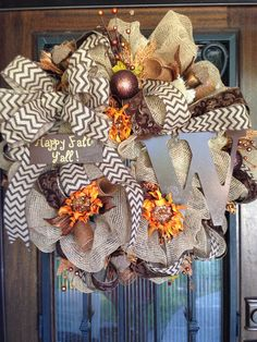 Hey, I found this really awesome Etsy listing at https://www.etsy.com/listing/193039491/burlap-mesh-wreath-fall-monogram