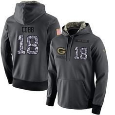 NFL Men's Nike Green Bay Packers #18 Randall Cobb Stitched Black Anthracite Salute to Service Player Performance Hoodie