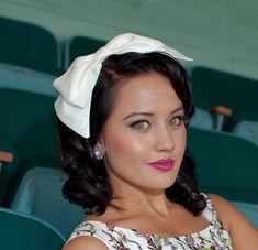 Big bow headband in ivory taffeta, headbands for women. via Etsy.