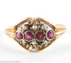 14k Rose Gold Seed Pearl Ruby Victorian Antique Estate Vintage Ring   eBay
