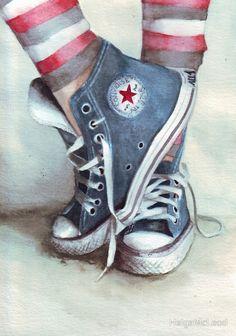 Original watercolor painting of Blue Converse All di HelgaMcL, Arte Pop, Shoe Art, Painted Shoes, Art Studios, Watercolor Paintings, Art Projects, Art Drawings, Illustration Art, Artsy