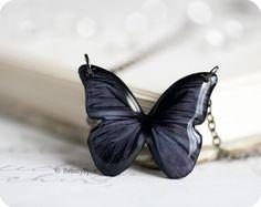 black butterfly necklace