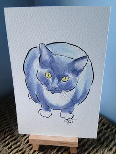OSWOA  Cat Watch Original Watercolour & Ink Painting 4x6 OOAK £10.00