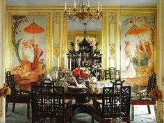 Dining Room - San Francisco apartment Architect Thomas Kligerman, Interior Design by Ann Getty. Image California Homes Decor, House Design, Chinoiserie Decorating, Interior, Asian Decor, Dining Room Design, Chinoiserie Wallpaper, Dining Room Decor, Luxury House Designs