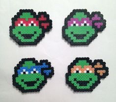 Ninja Turtle Perler Bead / Hama / Sprite Art - Raphael, Donatello, Leonardo, Michelangelo - Red, Purple, Blue, Orange - TMNT - Spaz