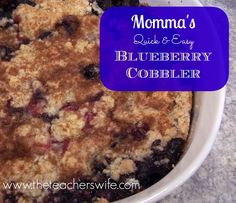 MOMMA'S {QUICK & EASY} BLUEBERRY COBBLER. Looking for a way to use up your summer blueberries? This quick and easy blueberry cobbler recipe is a great option. You may want to make more than one because it will go quickly!