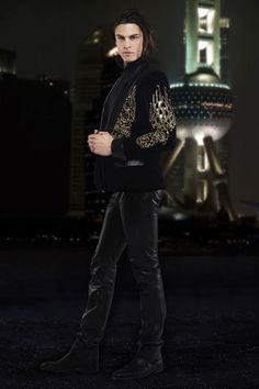 Baptiste Giabiconi and Chanel Pre-Fall 2010 Velvet Jacket and Leather Pants Photograph