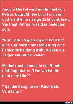 Angela Merkel wird im Himmel von Petrus begrüßt..