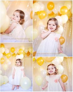 Gold, yellow and white helium Balloons - makes for a great portrait background for a toddler girl.