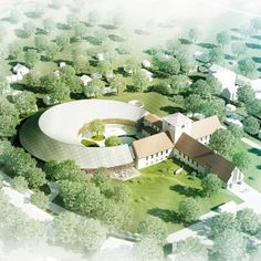 Nordic firm AART has won a competition to extend the Viking Age Museum building in Oslo, with plans to add a new curving wing to the cruciform plan.
