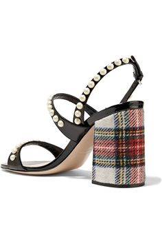 Miu Miu - Faux Pearl-embellished Tartan Tweed And Patent-leather Sandals - Black