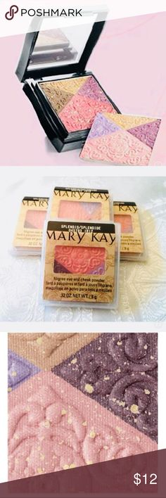 Mary Kay Filligree Eye and Chek mineral powder I do love this palette ,, 1 cheek color,, and 3 Eye color Embossed with a unique filligree pattern, enhanced with flecks of gold!!! Mary Kay Makeup Eyeshadow