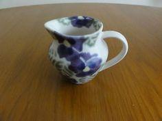 Ben Thomas ex Hornsea Spongeware milk jug creamer Pansies Signed Made in England