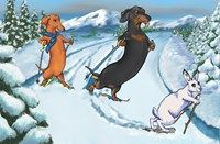 """A red and a black and tan dachshund encounter a wiener dog made of snow in this winter illustration by Terry Pond. Inside Reads """"Have a Weinerful Holiday Season and a Yappy New Year!"""""""