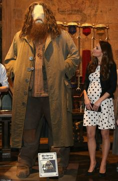Catherine Cambridge with the Rubeus Hagrid costume at a new Warner Bros. studio 4/26/2013