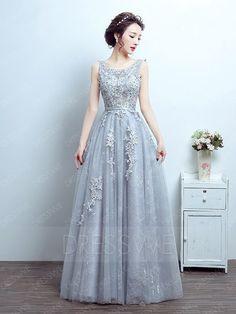 Classical Applique V-neck Sleeveless A-line Floor Length Prom Dress Prom Dresses Online, Dress Online, Gray Weddings, Groom Dress, Wedding Gowns, Ball Gowns, Formal Dresses, Lace, Dress Ideas