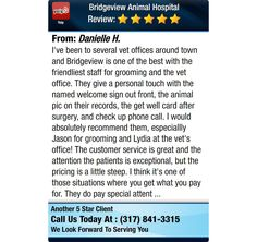 I've been to several vet offices around town and Bridgeview is one of the best with the...