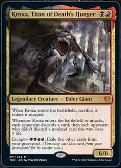 Kroxa, Titan of Death's Hunger Magic the Gathering Theros Beyond Death mtg Cool Things To Make, Old Things, Mtg Altered Art, Dnd Monsters, Legendary Creature, Nerd Art, Magic The Gathering Cards, Alternative Art, Magic Cards