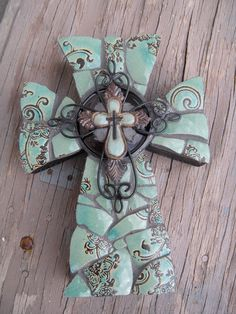 Turquoise glass cross from His House Mosaic Arts