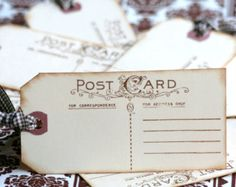 Vintage Inspired Postcard Tags - Place cards, Escort Cards, Save the Date