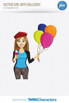 Free Vector Girl with Balloons (2.83 MB) | vectorcharacters.net