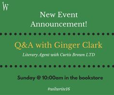 New Event! There will be a Q&A with Ginger Clark at the conference bookstore. Join us there next Sunday at 10:00am!