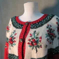 Vintage 1980's Ugly Christmas Sweater with Mistletoe Details. via Etsy.