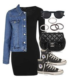 """Sin título #13460"" by vany-alvarado ❤ liked on Polyvore featuring Topshop, Chanel, Converse and Yves Saint Laurent"