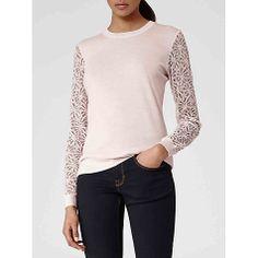 Buy Reiss Lace Sleeve Cara Jumper, Pink Mist Online at johnlewis.com