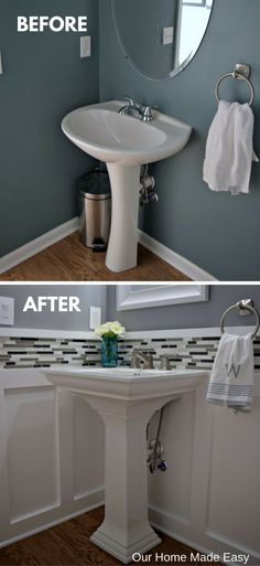 easy room makeover Budget Powder Room Reveal [ORC Week - Our Home Made Easy Downstairs Bathroom, Bathroom Renos, Bathroom Renovations, Home Remodeling, Bathroom Ideas, Budget Bathroom, Bath Ideas, Bathroom Back Splash Ideas, Bathroom Designs