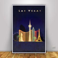 las Vegas skyline, Poster, las Vegas  Skyline Poster, Wall Art, Cityscape…