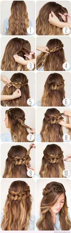Cute half-updo braid