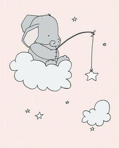 Elephant Nursery Art Pink and Gray Nursery by SweetMelodyDesigns. Elephant Nursery Art -- Pink and Gray Nursery Decor -- Elephants Moon and Stars -- Set Of 4 Prints -- Kids Wall Art Elephant Nursery Art, Cute Elephant, Moon Nursery, Pink Elephant, Pink And Gray Nursery, Pink Grey, Baby Decor, Nursery Decor, Nursery Prints