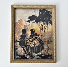 Vintage Silhouette Reverse Painted Picture Convex