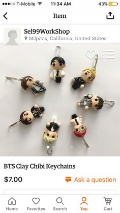 Handmade BTS (Dope era) Chibi Keychains! Check them out theyre adorable, found on etsy! https://www.etsy.com/listing/469079202/bts-clay-chibi-keychains?ref=shop_home_active_1  Now $7 at its cheapest