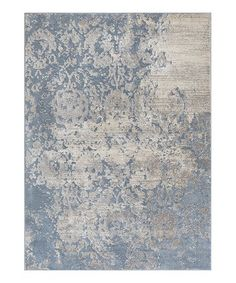 Another great find on #zulily! Blue Faded Damask Pearl Rug #zulilyfinds