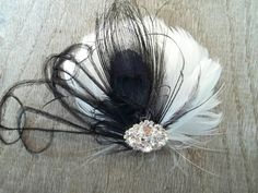 30% off sale ends soon!  Black White Feather bridal fascinator hair clip by kathyjohnson3