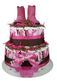 Camo Pink Girl Diaper Cake front