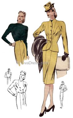 1940's Suit & Blouse  ...  reminds me of Rosalind Russell!  I know that hat!!