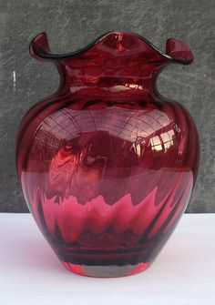 Art Glass Fashion Style Vintage Dartington Red Glass Vase British