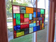 Fiery Stained Glass Window Panel Abstract Geometric EBSQ Artist