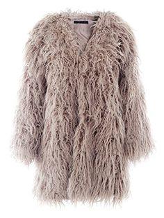 206587e59218 BerryGo Womens Fluffy Shaggy Long Faux Fur Coat Outwear KhakiM ** BEST  VALUE BUY on