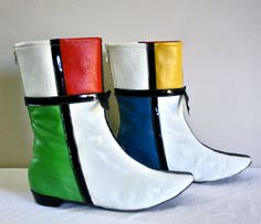 Vintage Mondrian Boots Colorblock Leather Vinyl by StatedStyle, $275.00